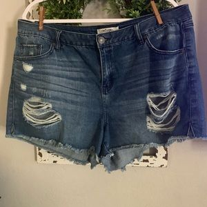 Charlotte Russe denim destroyed shorts size 16
